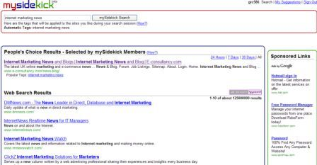 Mysidekick search results