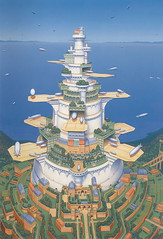 Tower Port I (a-waka) Tags: sf tower art japan illustration port japanese fantasy airship illustrator babylon atsushi illust babel wakamatsu sience  luftschiff