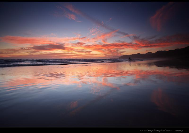 beach twilight surfer california photofool