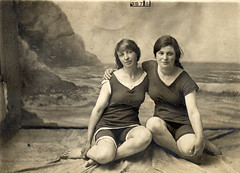 Two women in a photographer's studio (lovedaylemon) Tags: holiday beach vintage found seaside sand women image