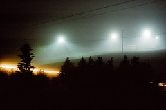 Foggy nightscape (Paul Glover) Tags: trees film silhouette night analog landscape lights streetlamps trails streaks headlamps canonf1 roll17 canonnewf1 kodakultramax400 canonfdn5014