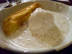 Coconut Sorbet, Iced Tapioca Milk, Brioche