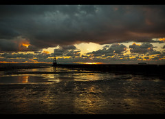 Burning sky and the return of Manannan, Explore Frontpage (Ianmoran1970) Tags: blue red sky orange cloud beach wet water river landscape sand colours boots explore burning sewage frontpage outlet mersey muddyboots explored crobsy ianmoran ianmoran1970