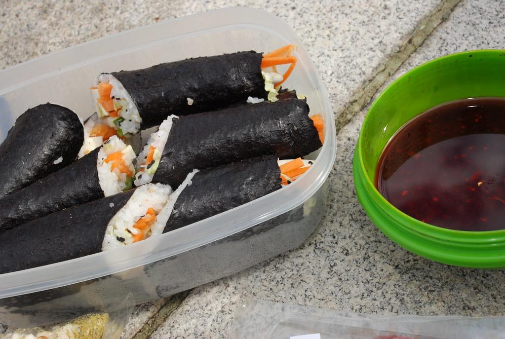 Dan's beautiful veg sushi and stunning dipping sauce