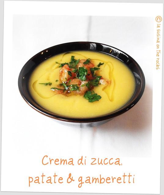 crema di zucca patate e gamberetti