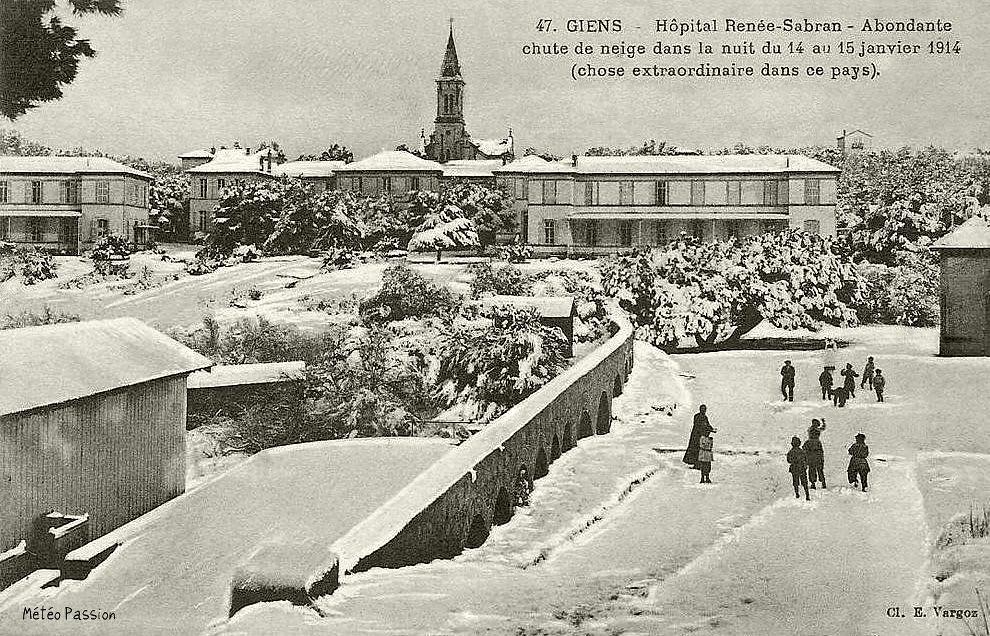 neige sur la presqu'île Giens les 14 et 15 janvier 1914