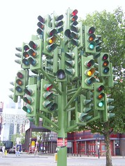 Traffic Light Tree, near Canary Wharf, London (Richard and Gill) Tags: sculpture trafficlights london roundabout docklands canarywharf heronquays towerhamlets trafficlighttree pierrevivant