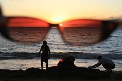 Secret Revealed (Randy Son Of Robert) Tags: ocean sunset playing beach sunglasses kids hawaii sand maui filter kaanapali