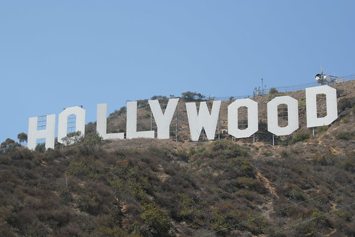 Hollywood sign against a blue sky background on a sunny day