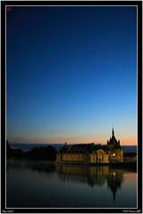 Quiet Castle (Kinryuu_JFJ) Tags: park blue sky sun lake france reflection tree history water colors museum fairytale forest sunrise garden soleil pond perfect eau quiet photographer jardin lac medieval muse structure class historic bleu reflet ciel age histoire chateau foret arbre parc couleur 60 chantilly picardie fee etang the historique aclass conte oise moyen leverdujour a chateaudechantilly mywinners aplusphoto diamondclassphotographer superhearts lunarvillage flickrelite theperfectphotographer casthe