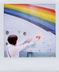 hello (kimicon) Tags: holiday girl polaroid sx70 graffiti tokyo rainbow friend fairy nakano 600film taechan withoutndfilter iwillmissyouuuuu