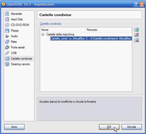 Fig. 8 - VirtualBox cartelle condivise - Cartella condivisa aggiunta