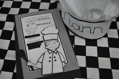 Chefs hat for the birthday boy and Invitations nearly ready