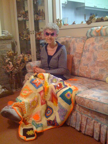 For Bethel! Thank you! Mr. Twin, Would you mind? Sorry to disturb you, I know you are watching the News! For you who don't know why I'm wearing sunglasses. It's because I am making 'sun themed' Blankets and because the Blankets are so bright and wacky