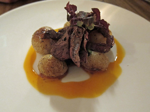 Grilled Chilli Marinated Ox Heart, Fried Potatoes, Red Chard