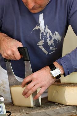 slicing gruyere