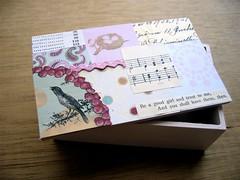 wooden decoupaged box pink