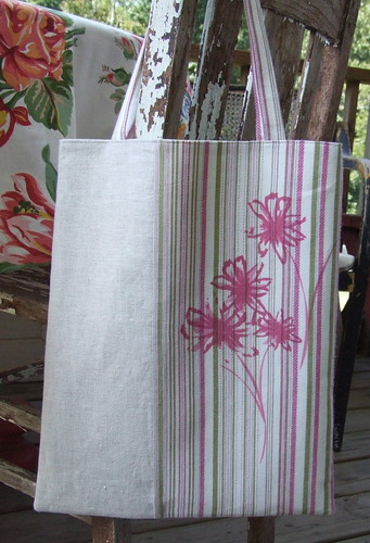 linen and stripe tote bag