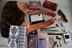 What's in my bag today (jesse k.) Tags: sunglasses glasses phone tea wallet purse flip pens bluetooth whatsinmybag batteries flashdrive maximini trishmcevoy organizedchaos