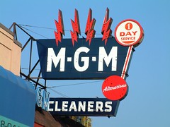 MGM Cleaners sign from 1962 (DetroitDerek Photography ( ALL RIGHTS RESERVED )) Tags: blue red summer sign birmingham neon fuji michigan ad detroit billboard explore bolt woodward lightning cleaner mgm 1962 2007 advertise flickrphotoaward excapture