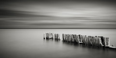 Whitefish Point Groynes / 2:1 (Jeff Gaydash) Tags: longexposure blackandwhite water seascapes michigan jetty greatlakes upperpeninsula groyne lakesuperior whitefishpoint lakescapes doublesquare nd110