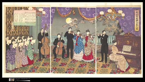 """""""Picture of a Concert of European Music"""" Toyohara Chikanobu (1838-1912), Japan, Meiji period (1868-1912), dated 1889, Triptych of polychrome woodblock prints; ink and color on paper, H. 14 1/2 in. (38.8cm); W. 29in. (73.7cm) Courtesy The Metropoltian Museum of Art, Gift of Lincoln Kirstein, 1959 (JP3276) Image ©The Metropolitan Museum of Art"""