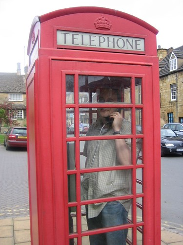 Me in a phone booth in Chipping-Camden, the Cotswalds
