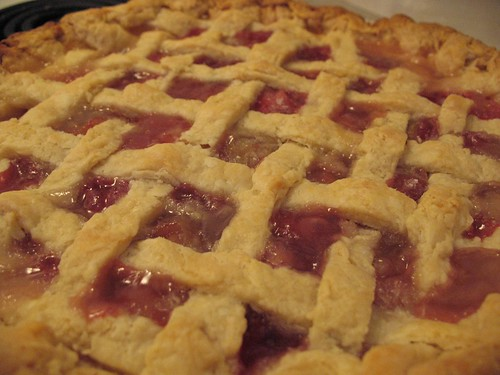 Lattice crust rhubarb pie