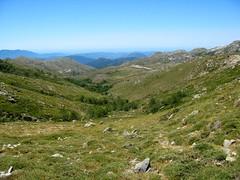 Depuis Bocca di Chiralba: au Sud, la vallée du ruisseau du Cuscionu