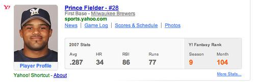 Yahoo Baseball Search Shortcut