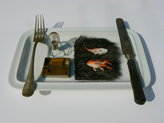 Dinner is served. (remember moments) Tags: fish art bulb table artwork dish knife surreal fork meal unreal cutlery dietmarvollmer
