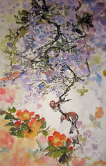 Wisteria, Camellia, and Ruby Throats (boydsshufa) Tags: ink watercolor originalart lingnan xieyi chinesebrushpainting zhonghua birdandflower