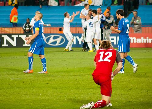It's over for the defending champions as Kamil KOPUNEK has scored the 3rd Slovakian goal