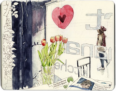 Heart Buchanan, tulips in the window (Wil Freeborn) Tags: road moleskine sketch heart glasgow journal buchanan watercolour byres