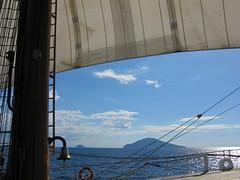 Aeolian Islands thru sails (johnstodder) Tags: italy island sailing sail mast volcanic tallships rigging mediterraneansea aeolianislands tyrrheniansea