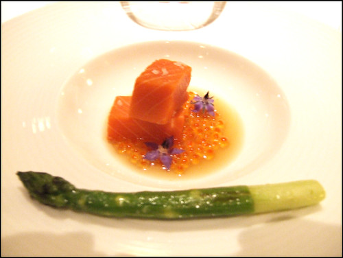 Manresa (Los Gatos) - Copper river salmon & smoked roe, roast tuna juice, & red pepper