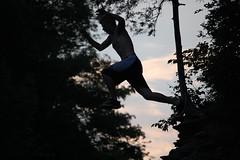 Silhouetted jump (mhaithaca) Tags: sunset summer water silhouette creek jump gorge ithaca sixmilecreek seconddam bestof07