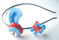 Blue and Orange Vintage Flowers Headband