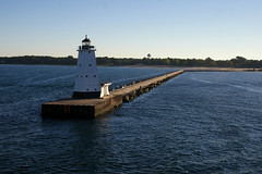 Lighthouse as seen from SS Badger, Ludington, MI by Wigwam Jones