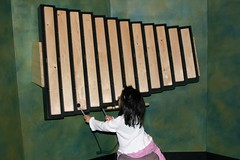 Olivia playing a xylophone