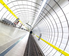 Converging Lines (yushimoto_02 [christian]) Tags: white art station yellow horizontal architecture canon germany underground subway munich mnchen geotagged outdoors deutschland photography vanishingpoint arquitectura europe arch publictransportation angle metro angles tunnel nopeople ceiling line ubahn architektur tilt vanishing hdr tunnelvision architectura absence architectur railroadtrack fluchtpunkt thewayforward ubahnmuenchen:station=lh ubahnmuenchen:line=5 ubahnmuenchen:line=4 railroadstationplatform