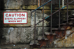 Caution - Steps Slippery When Wet (Bobshaw) Tags: sign rust decay steps caution slippery headland hartlepool