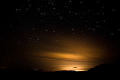three minutes (sigrun th) Tags: sunset sky favorite orange beautiful yellow night wow dark stars gold star golden iceland amazing cool fantastic heaven darkness bright gorgeous awesome great north perspective award excellent ligth streaks magnificent helluva speachless
