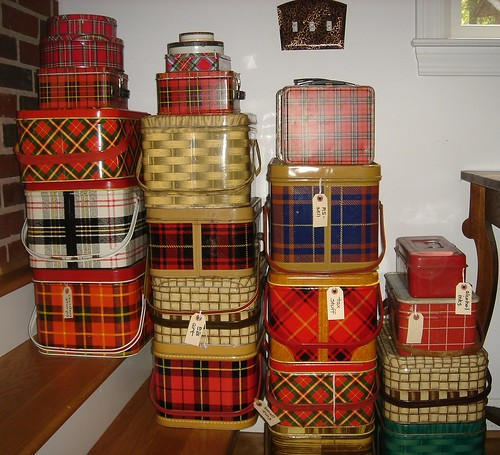 Plaid picnic tins