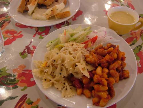 beans, pasta, salad + pan