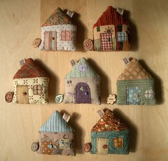 House Tape Measures (PatchworkPottery) Tags: house handmade sewing crafts country tape quilted patchwork measure retractable zakka