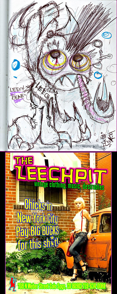 """LEECH BEAR ""  - ii  [[ Proposed spot ad / character design for The LEECHPIT, Colorado Springs ]]"