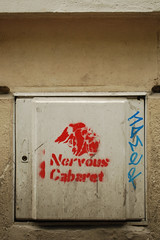 Nervous Cabaret (nickcoates74) Tags: paris france graffiti stencil nikon montmartre pochoir d60 nervouscabaret 18e ruecaulaincourt