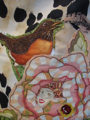 singing a sweet song (calamity kim) Tags: birds bees applique michaelmiller fogs heatherbailey rawedge reversibleapron calamitykimstyle vintagequilttop