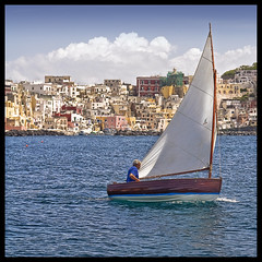 Dinghy and Corricella (diedm) Tags: sea sail procida dinghy corricella sonyr1 inbarca